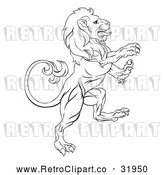 Vector Clip Art of a Retro Lion Confidently Rearing up with Hostile Intentions by AtStockIllustration