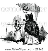 Vector Clip Art of a Retro Little Girl Asking Woman Question - Black and White by Prawny Vintage