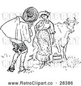 Vector Clip Art of a Retro Man and Milk Maid with Cow by Prawny Vintage