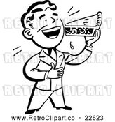 Vector Clip Art of a Retro Man Eating a Slice of Pie by BestVector
