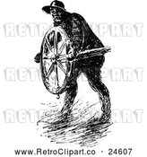 Vector Clip Art of a Retro Man Steering a Ship in a Storm by Prawny Vintage
