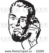 Vector Clip Art of a Retro Man Talking on Old Phone - Black and White by BestVector