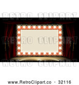 Vector Clip Art of a Retro Marquee Theater Sign Lit up with Bulbs and Stage Lights by AtStockIllustration