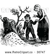 Vector Clip Art of a Retro Mother and Son by a Tree Stump by Prawny Vintage