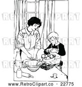 Vector Clip Art of a Retro Mother Cooking with Her Son by Prawny Vintage