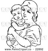 Vector Clip Art of a Retro Mother Holding Her Baby by Prawny Vintage
