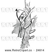 Vector Clip Art of a Retro Naval Officer Climbing a Tree by Prawny Vintage
