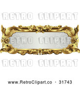 Vector Clip Art of a Retro Ornate Gray and Gold Frame with Blank Space by AtStockIllustration