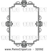 Vector Clip Art of a Retro Ornate Vintage Floral Frame in Black Lineart by AtStockIllustration