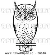 Vector Clip Art of a Retro Owl Perched and Waiting by Prawny Vintage