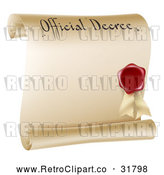 Vector Clip Art of a Retro Paper Scroll Official Decree and Red Wax Seal with Copyspace by AtStockIllustration