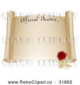 Vector Clip Art of a Retro Paper Scroll Official Decree with a Red Wax Seal and Copyspace by AtStockIllustration
