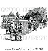 Vector Clip Art of a Retro Parisian Scene by Prawny Vintage