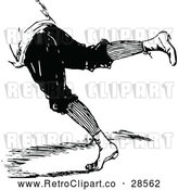 Vector Clip Art of a Retro Person's Legs Leaping Forward or Falling by Prawny Vintage