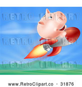 Vector Clip Art of a Retro Pig Bank Riding a Rocket over a Valley by AtStockIllustration