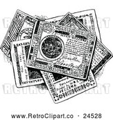 Vector Clip Art of a Retro Pile of Continental Money Bills in Black and White by Prawny Vintage