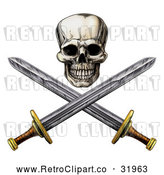 Vector Clip Art of a Retro Pirate Skull Above Crossed Swords by AtStockIllustration