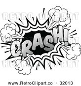 Vector Clip Art of a Retro Pop Comic Crash Effect in Black and White by AtStockIllustration