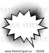 Vector Clip Art of a Retro Pop Comic Speech Balloon Burst Outlined in Black by AtStockIllustration