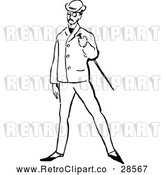 Vector Clip Art of a Retro Posh Man with a Cane by Prawny Vintage