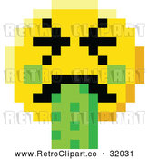 Vector Clip Art of a Retro Puking 8 Bit Video Game Style Smiley Face by AtStockIllustration