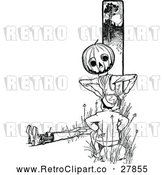Vector Clip Art of a Retro Pumpkin Character Talking to a Boy by Prawny Vintage