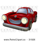 Vector Clip Art of a Retro Red Car with Lights on by AtStockIllustration