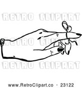 Vector Clip Art of a Retro Reminder Ribbon on a Finger by Prawny Vintage
