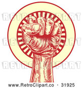 Vector Clip Art of a Retro Revolutionary Fist over a Circle of Rays - Red and Yellow Theme by AtStockIllustration