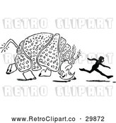 Vector Clip Art of a Retro Rhino Chasing a Black Silhouette Boy by Prawny Vintage