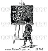 Vector Clip Art of a Retro School Boy Facing Chalk Board with Math Equations by Prawny Vintage