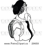 Vector Clip Art of a Retro School Girl Smiling by Prawny Vintage