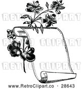 Vector Clip Art of a Retro Scroll Beside Flowers by Prawny Vintage
