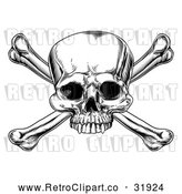 Vector Clip Art of a Retro Skull and Crossbones in Black Lineart by AtStockIllustration