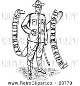 Vector Clip Art of a Retro Soldier Beside Banner by Prawny Vintage