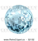 Vector Clip Art of a Retro Sparkly Blue Disco Mirror Ball by AtStockIllustration