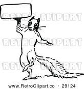 Vector Clip Art of a Retro Squirrel Holding a Sign by Prawny Vintage