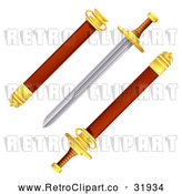 Vector Clip Art of a Retro Sword with Scabbard by AtStockIllustration