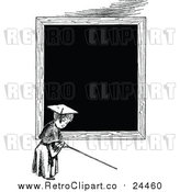 Vector Clip Art of a Retro Teacher in Front of a Blank Blackboard by Prawny Vintage