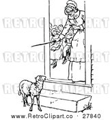 Vector Clip Art of a Retro Teacher Looking at a Lamb from Her Classroom by Prawny Vintage
