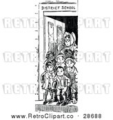 Vector Clip Art of a Retro Teacher Standing with Young Student at Front Door of School by Prawny Vintage