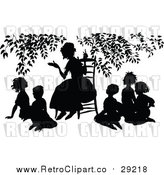Vector Clip Art of a Retro Teacher Teacing Students Under a Tree by Prawny Vintage