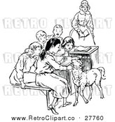 Vector Clip Art of a Retro Teacher with Students and a Lamb by Prawny Vintage
