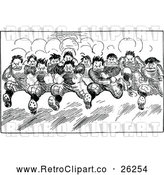 Vector Clip Art of a Retro Team Running Forward by Prawny Vintage