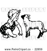 Vector Clip Art of a Retro Toddler Girl Playing with a Lamb by Prawny Vintage