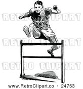 Vector Clip Art of a Retro Track Athlete Leaping Hurdle by Prawny Vintage
