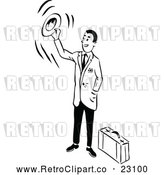 Vector Clip Art of a Retro Traveling Businessman Waving Goodbye with His Hat by Prawny Vintage