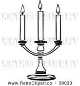 Vector Clip Art of a Retro Triple Candle Holder by Prawny Vintage