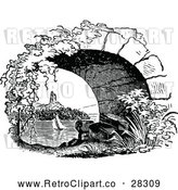 Vector Clip Art of a Retro Tunnel and Sailboat by Prawny Vintage