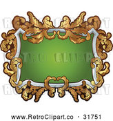 Vector Clip Art of a Retro White, Green and Gold Frame by AtStockIllustration